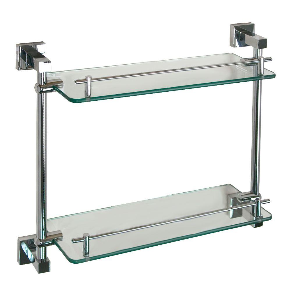 Barclay Products Jordyn 17 in. W Double Shelf in Glass and Polished Chrome