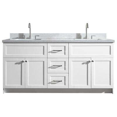 Hamlet 73 in. Bath Vanity in White with Quartz Vanity Top in White with White Basins