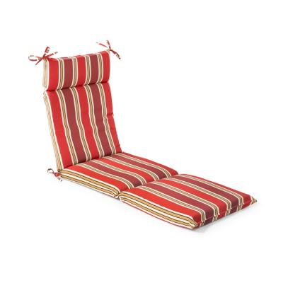 Hampton Bay 21.5 in. x 72 in. x 4 in. Chili Stripe Outdoor Chaise Lounge Cushion (2 Pack)