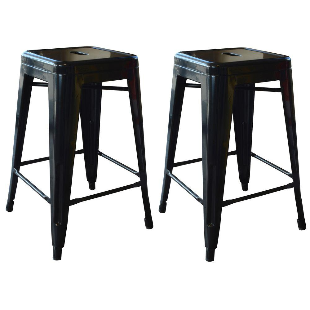 Loft Style 24 in. Stackable Metal Bar Stool in Black (Set