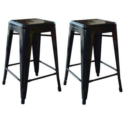 Loft Style 24 in. Stackable Metal Bar Stool in Black (Set of 2)