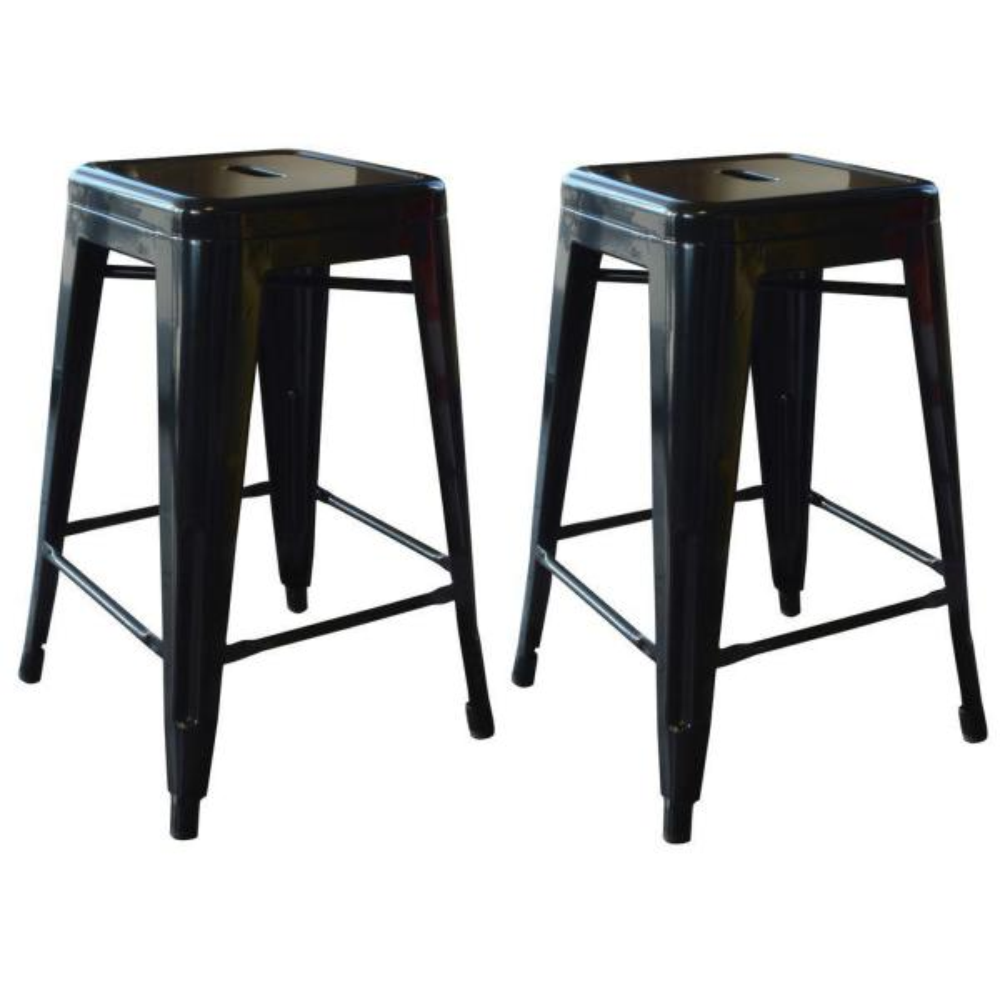 Loft Style 24 in. Stackable Metal Bar Stool in Black (Set of 2)