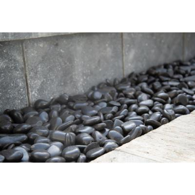 Black Polished 0.5 cu. ft. 1 in. to 2 in. 40 lbs. Pebbles Bag