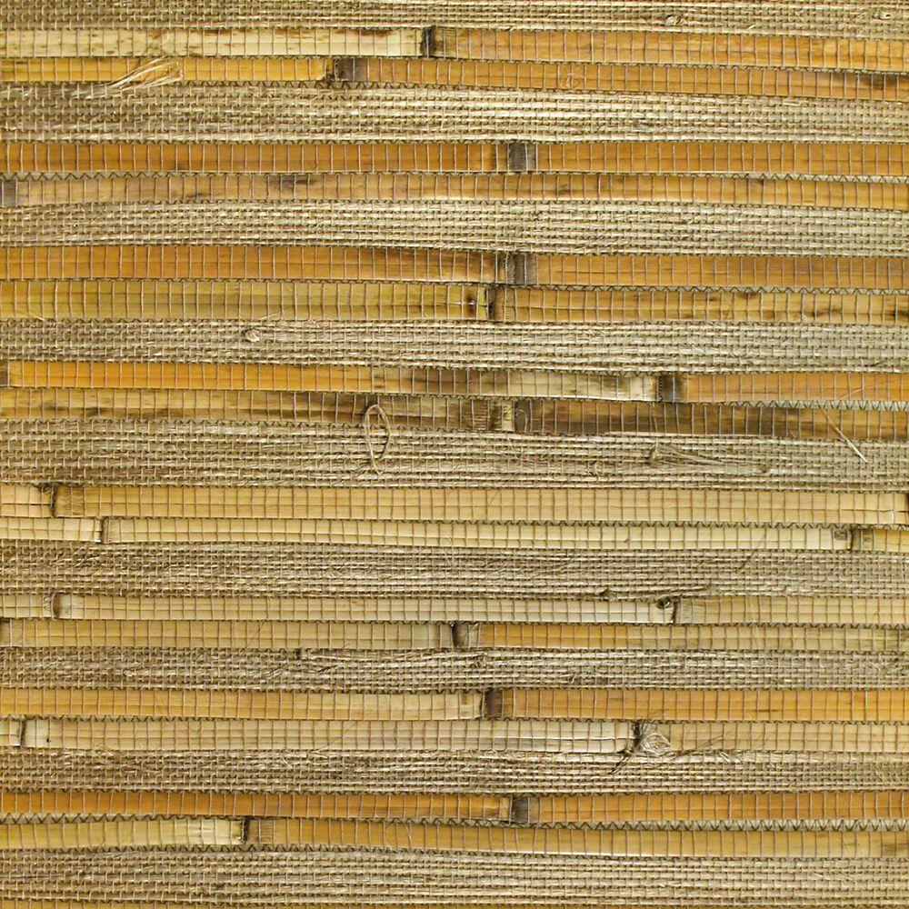 The Wallpaper Company 72 sq. ft. Taupe Bamboo Grasscloth Wallpaper-DISCONTINUED