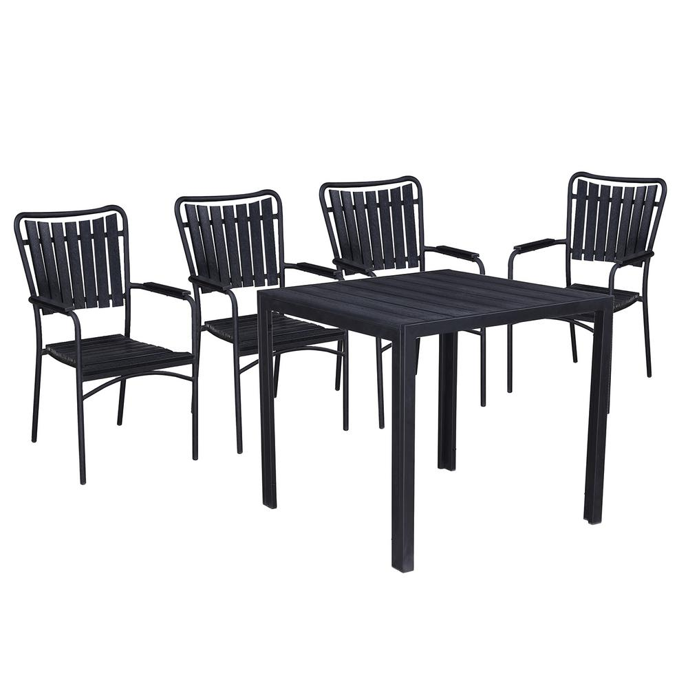 Modern Contemporary Black 5 Piece Metal Square Outdoor Dining Set With  Slatted Faux Wood And