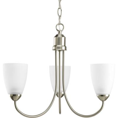Gather 3-Light Brushed Nickel Chandelier with Etched Glass