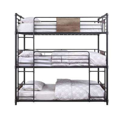 Brantley Sandy Black and Dark Bronze Hand-Brushed Triple Bunk Bed