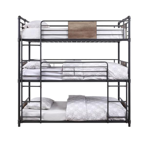 Acme Furniture Brantley Sandy Black and Dark Bronze Hand-Brushed Triple Bunk