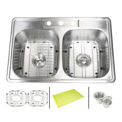 Topmount Drop In Stainless Steel 33 in. x 22 in. x 9 in. Deep 3 Faucet Holes Double Bowl 50/50 Kitchen Sink Combo