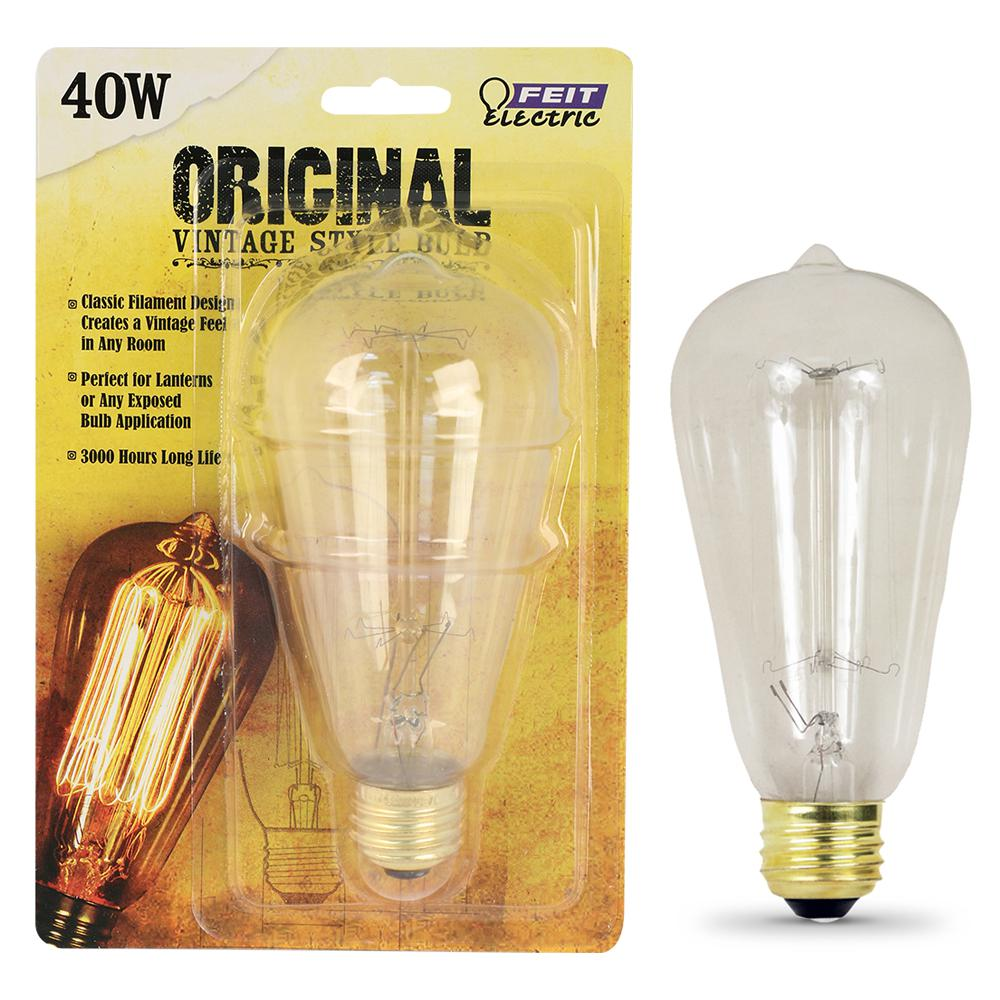 Feit Electric 40W Equivalent ST19 Dimmable Incandescent Amber Glass Vintage Edison Light Bulb With Cage Filament Soft White