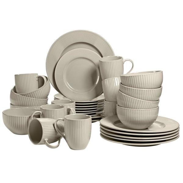 Chester 32-Piece Casual Grey Porcelain Dinnerware Set (Service for 8)