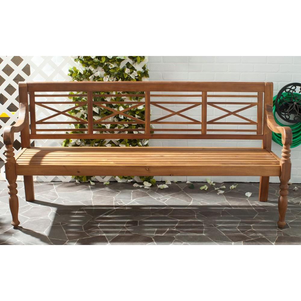 Wooden Benches Outdoor: Safavieh Karoo Natural Patio Bench-PAT6704B
