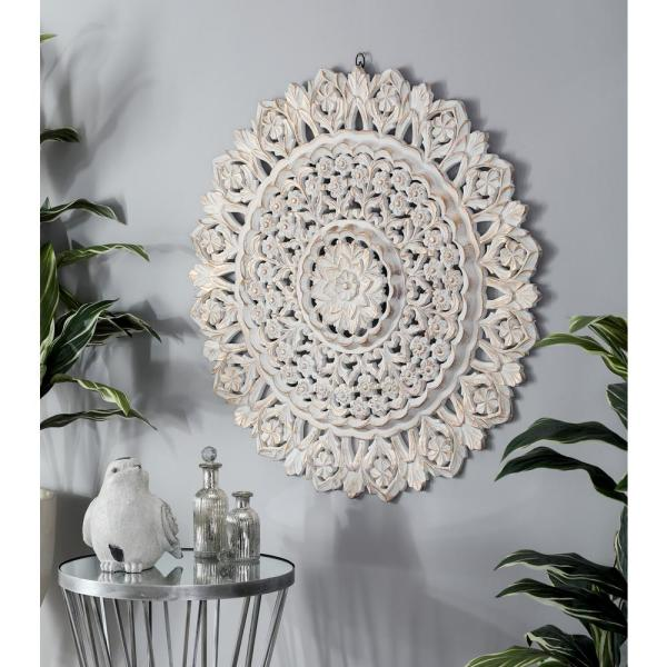 Litton Lane 35 In Carved Floral Design Round Wooden Wall Art 23794