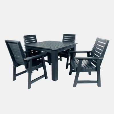 Weatherly Federal Blue 5-Piece Plastic Square Outdoor Dining Set