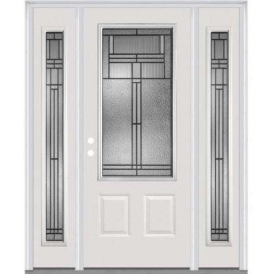 60 in. x 80 in. Brighton Right-Hand Inswing 3/4-Lite Decorative Primed Fiberglass Smooth Prehung Front Door w/ Sidelites