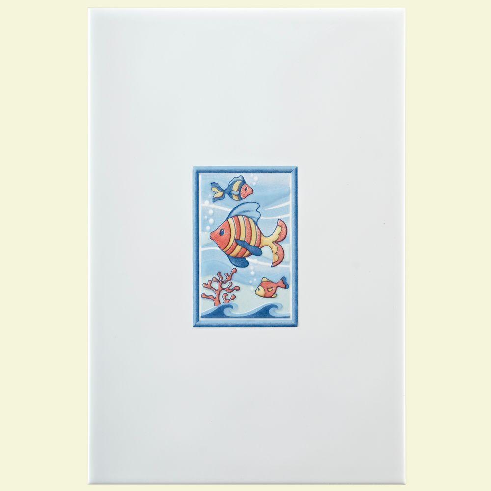 Merola Tile Dunas Blanco Maui Multicolor 7-7/8 in. x 11-13/16 in. Ceramic Decor Wall Tile