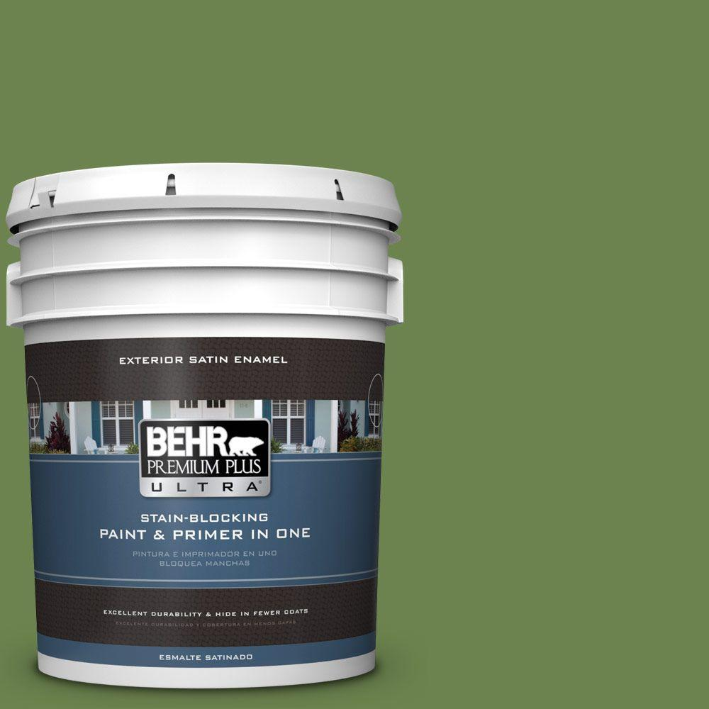 BEHR Premium Plus Ultra 5-gal. #430D-6 Happy Camper Satin Enamel Exterior Paint