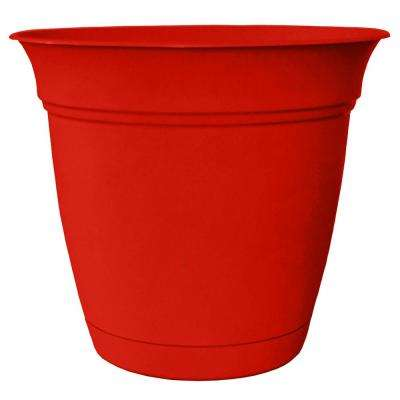 Belle 8 in. Dia. Strawberry Red Plastic Planter with Attached Saucer