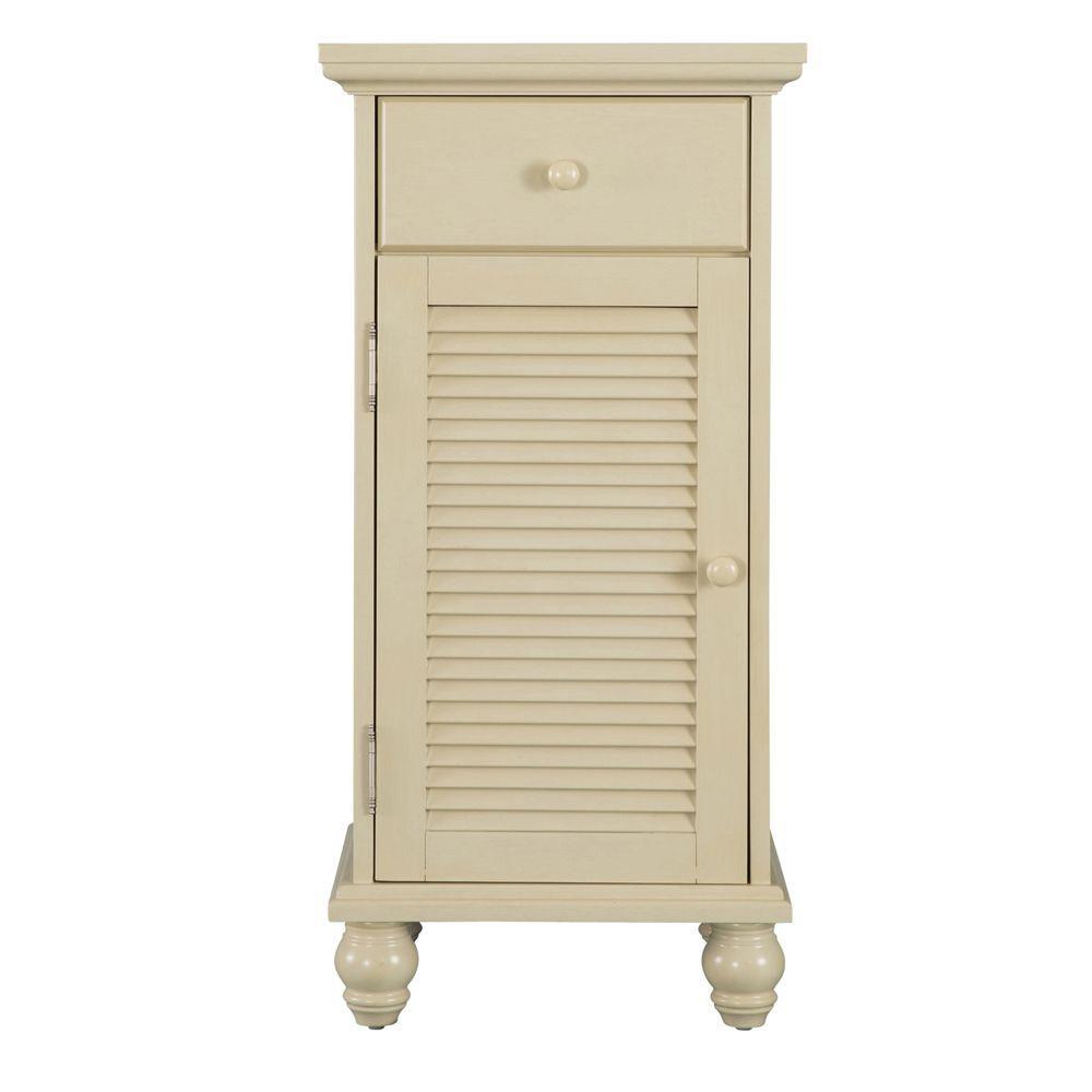 Cottage 17 in. W x 35 in. H Bathroom Linen Storage Floor Cabinet in Antique White