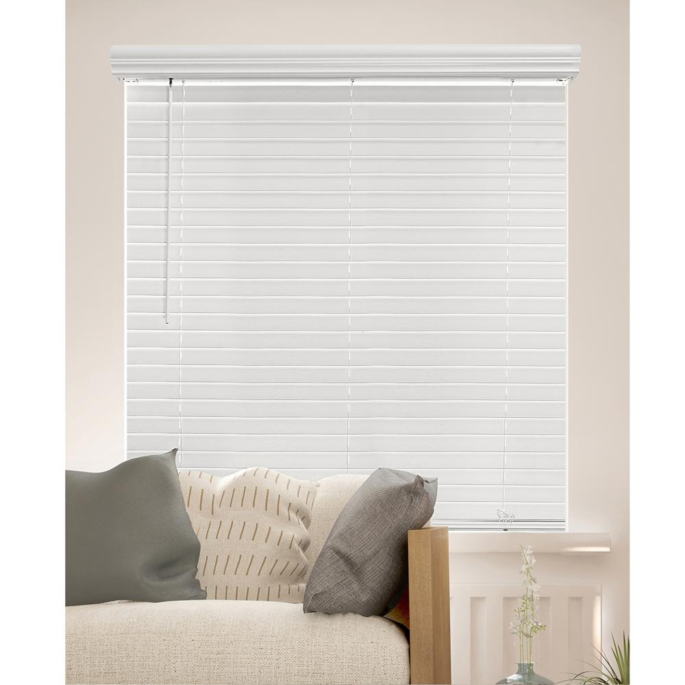 Cut-to-Width Chelsea White Cordless 2 in. Faux Wood Blind - 40