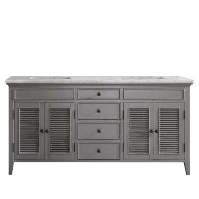 Piedmont 72 in. W x 23 in. D x 35 in. H Vanity in Grey with Marble Vanity Top in White with Basin