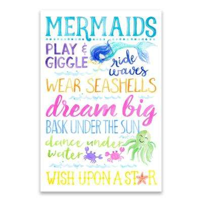 """Mermaid Typography"" by Lot26 Studio Printed Canvas Wall Art"