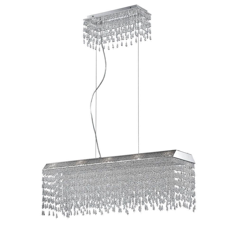 Fonte 10-Light Chrome and Clear Rectangular Chandelier