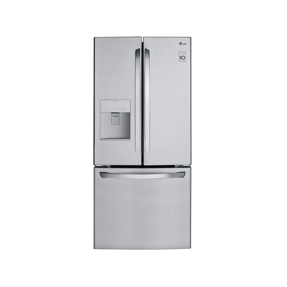 lg electronics 21 8 cu ft french door refrigerator in stainless steel lfds22520s the home depot. Black Bedroom Furniture Sets. Home Design Ideas