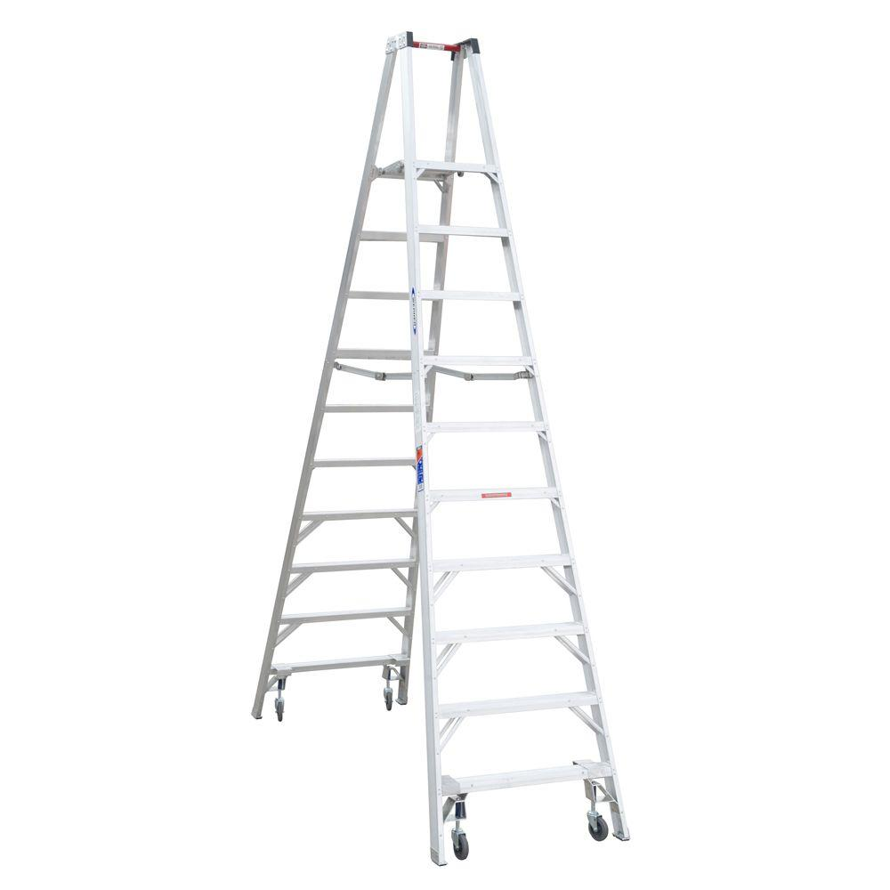 Werner 16 ft. Reach Aluminum Platform Twin Step Ladder with Casters 300 lb. Load Capacity Type IA Duty Rating