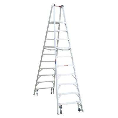 16 ft. Reach Aluminum Platform Twin Step Ladder with Casters 300 lb. Load Capacity Type IA Duty Rating