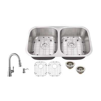 Undermount 32 in. 16-Gauge Stainless Steel Kitchen Sink in Brushed Stainless with Arc Kitchen Faucet