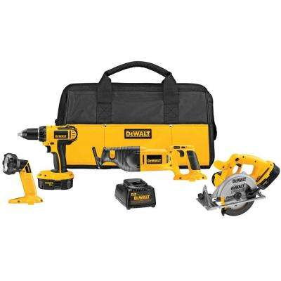 18-Volt NiCd Cordless Combo Kit (4-Tool) with (2) Batteries 1.2Ah, 1-Hour Charger and Contractor Bag