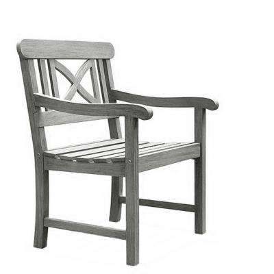 Renaissance Hand-Scraped Acacia Cross-Back Patio Armchair