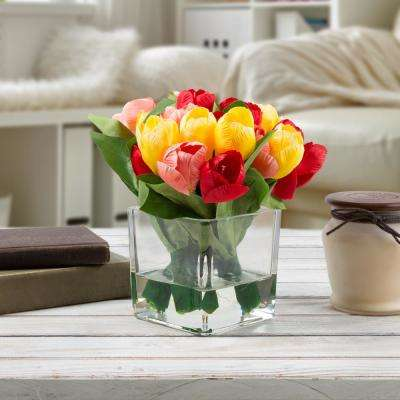 8 in. Tulip Artificial Floral Multicolor Arrangement