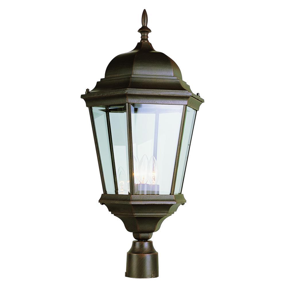 Bel Air Lighting 3 Light Outdoor Rust Post Light 51001 Rt