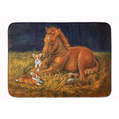 19 in. x 27 in. Corgi Sunrise with Colt Machine Washable Memory Foam Mat
