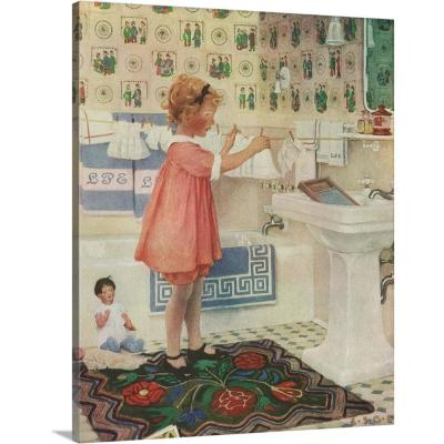 """16 in. x 20 in. """"Girl Hanging Clothes"""" by Pictures Now Canvas Wall Art"""