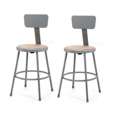 24 in. Grey Heavy-Duty Steel Stool with Backrest (2-Pack)