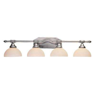 Cabernet Collection 4-Light Polished Chrome Bath Bar Light with White Opal Shade