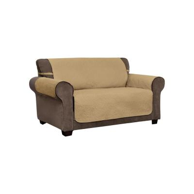 Belmont Leaf Secure Fit Loveseat Toast Furniture Cover Slipcover