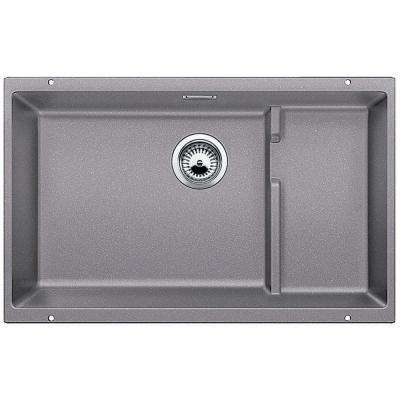 PRECIS Cascade Undermount Granite Composite 29 in. Single Bowl Kitchen Sink in Metallic Gray