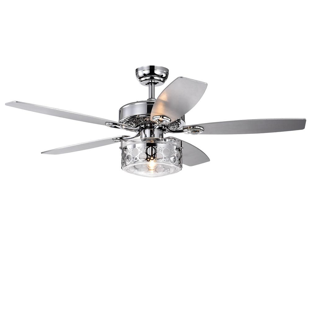 Warehouse of Tiffany Pamerine 52 in. Indoor Chrome Remote Controlled Ceiling Fan with Light Kit