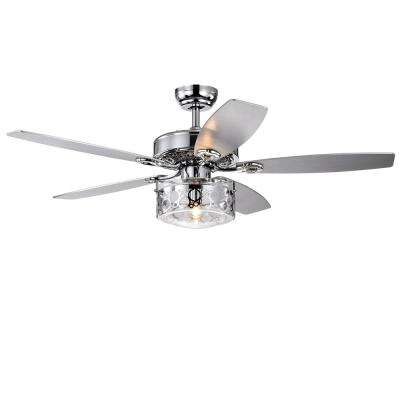 Pamerine 52 in. Indoor Chrome Remote Controlled Ceiling Fan with Light Kit