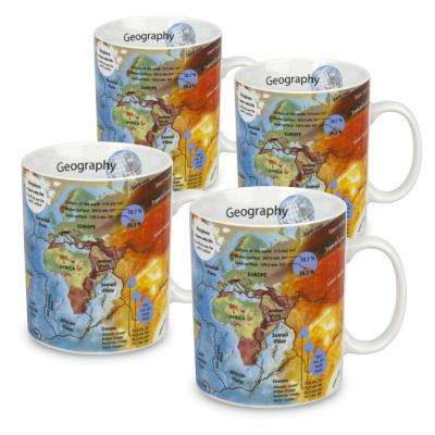 Konitz 4-Piece Mug of Knowledge Geography Porcelain Mug Set