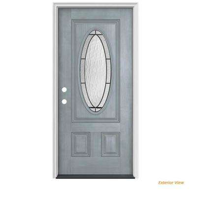 34 in. x 80 in. 3/4 Oval Lite Wendover Stone Stained Fiberglass Prehung Right-Hand Inswing Front Door