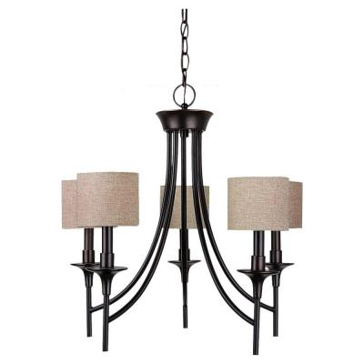 Stirling 5-Light Burnt Sienna Single-Tier Chandelier with Linen Shades