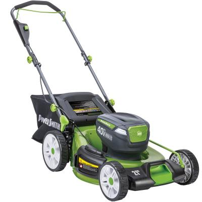 12 in. 40-Volt Cordless Lithium-Ion Lawn Mower with LED Headlights, 2 Batteries and Charger