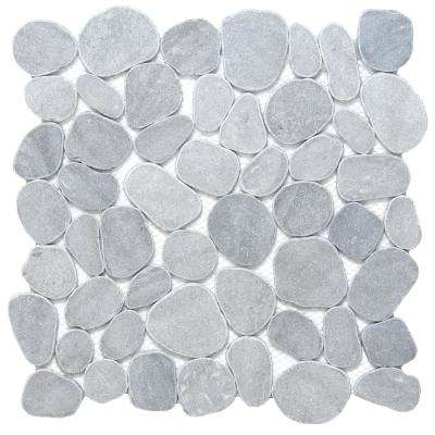 Cultura Silver Honed and Tumbled 11.81 in. x 11.81 in. x 8 mm Pebbles Mesh-Mounted Mosaic Tile (1 sq. ft.)