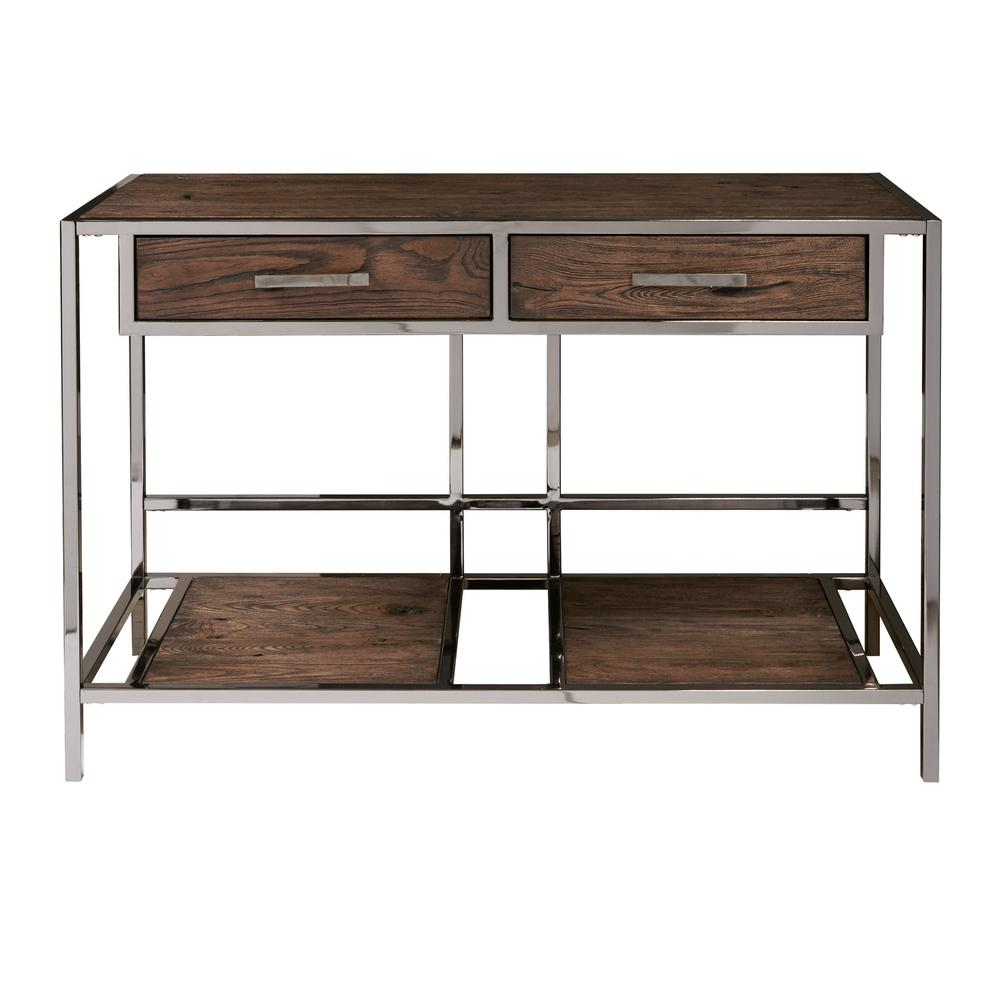 Modern Industrial Style Chocolate Brown Wood and Smoked Metal Sofa Table