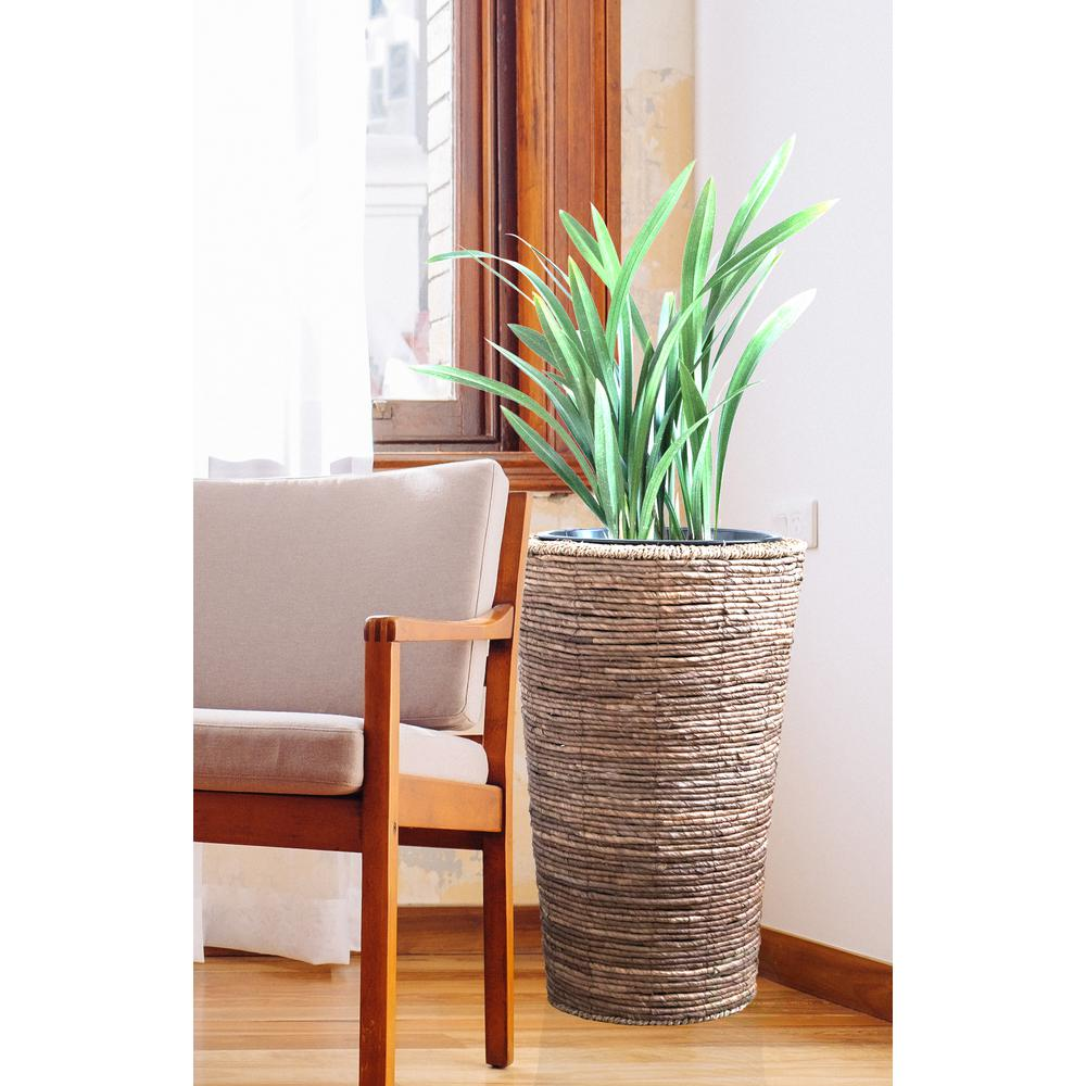 Tall Floor Planter With Metal Pot
